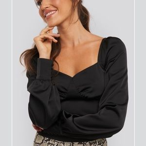 XLE The Label Black Puff Sleeve Blouse
